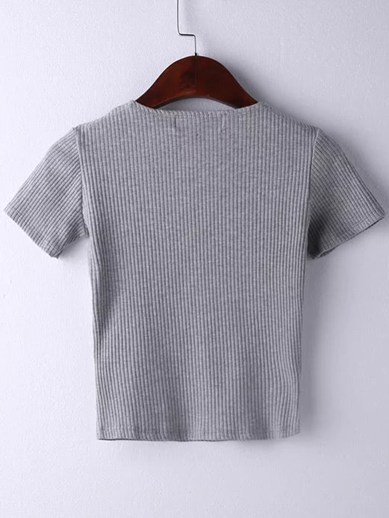 V Neck Surplice Wrap Rib T-shirt, Grey