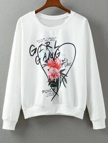 White Letters Flowers Print Pullover Sweatshirt