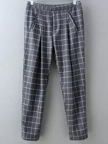 Grey Pockets Plaids Harem Pants