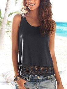 Lace Trimmed Tank Top - Black