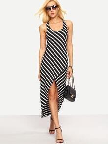 Crisscross Back High-Low Striped Dress