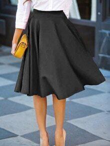 Plain Flare Midi Skirt