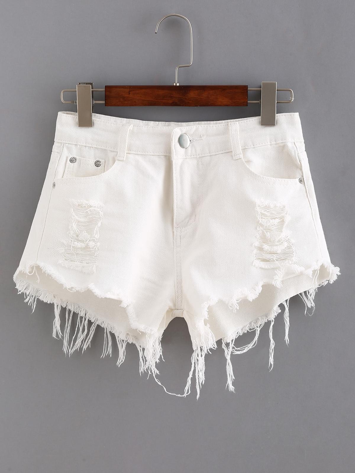 撕裂 無縫邊 白色 牛仔布 短褲