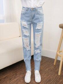 Ripped Pleated Hem Light Wash Jeans