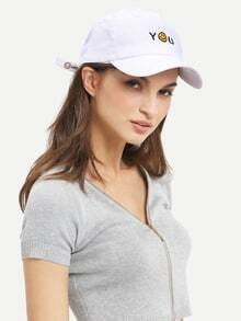 Smiley Face Embroidered Baseball Hat