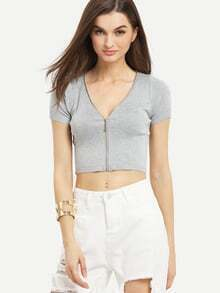Zip Front Ribbed Knit Crop Top - Grey