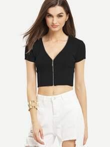 Zip Front Ribbed Knit Crop Top - Black