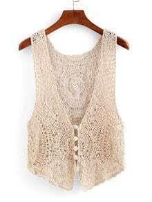 Buttoned Front Crochet Vest