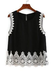 Lace Trimmed Keyhole Back Tank Top