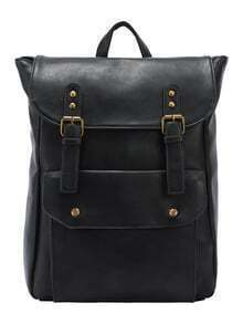 Faux Leather Double Buckle Strap Backpack - Black