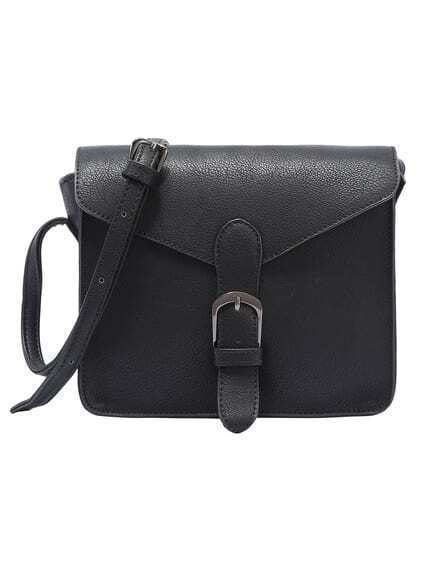 Faux Leather Buckle Strap Flap Bag - Black