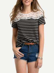 Black White Stripe Lace Yoke T-shirt