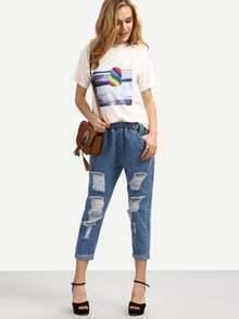 Elastic Waist Distressed Boyfriend Jeans