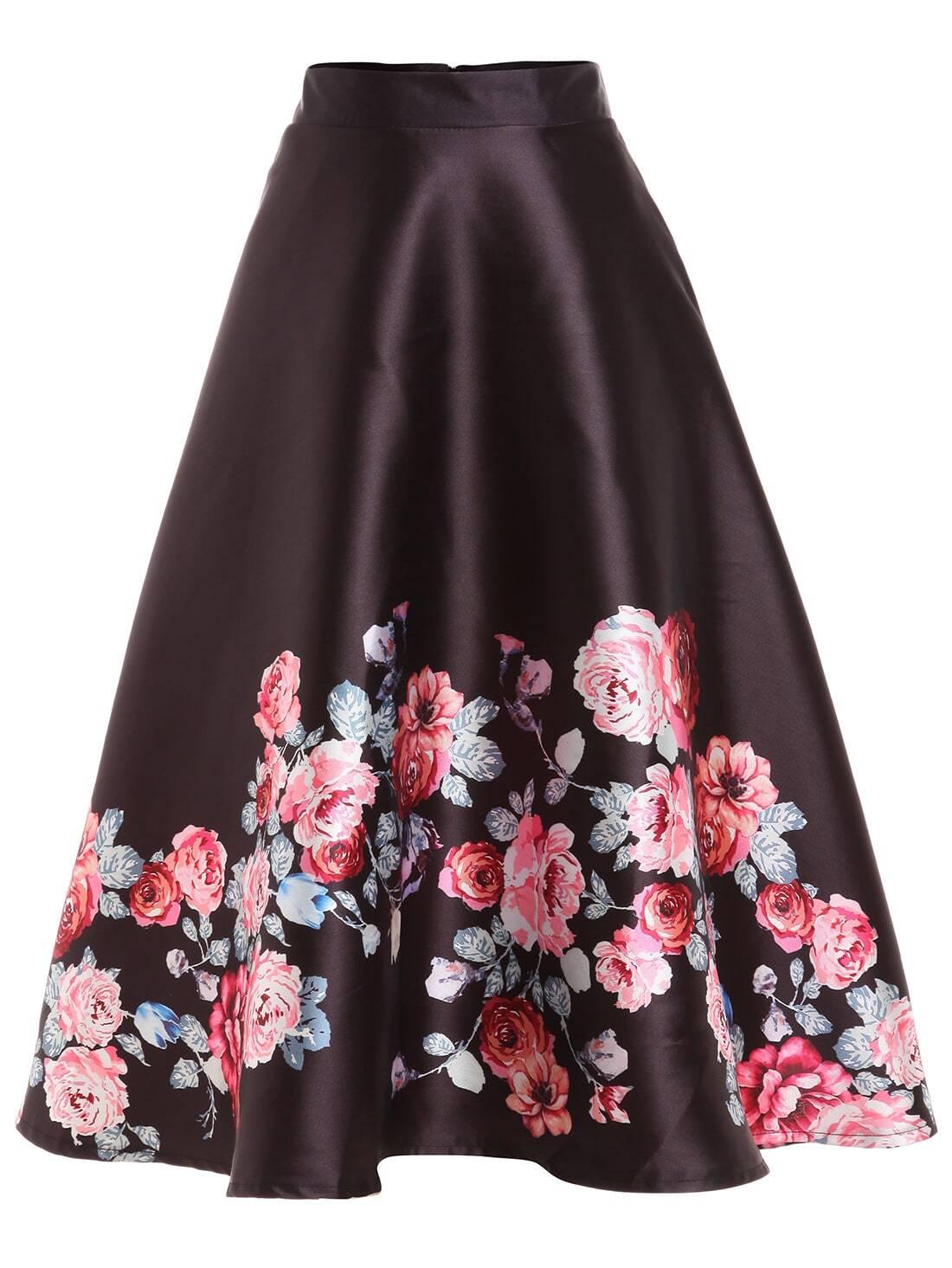 jupe mi longue motif fleuri noir french romwe. Black Bedroom Furniture Sets. Home Design Ideas