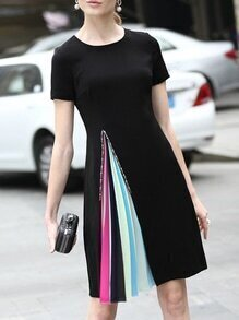 Black Beading Pleated Shift Dress