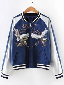 White Pockets Zipper Front Embroidery Jacket