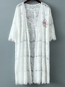 White Letters Heart Sequined Lace Cardigan Outerwear