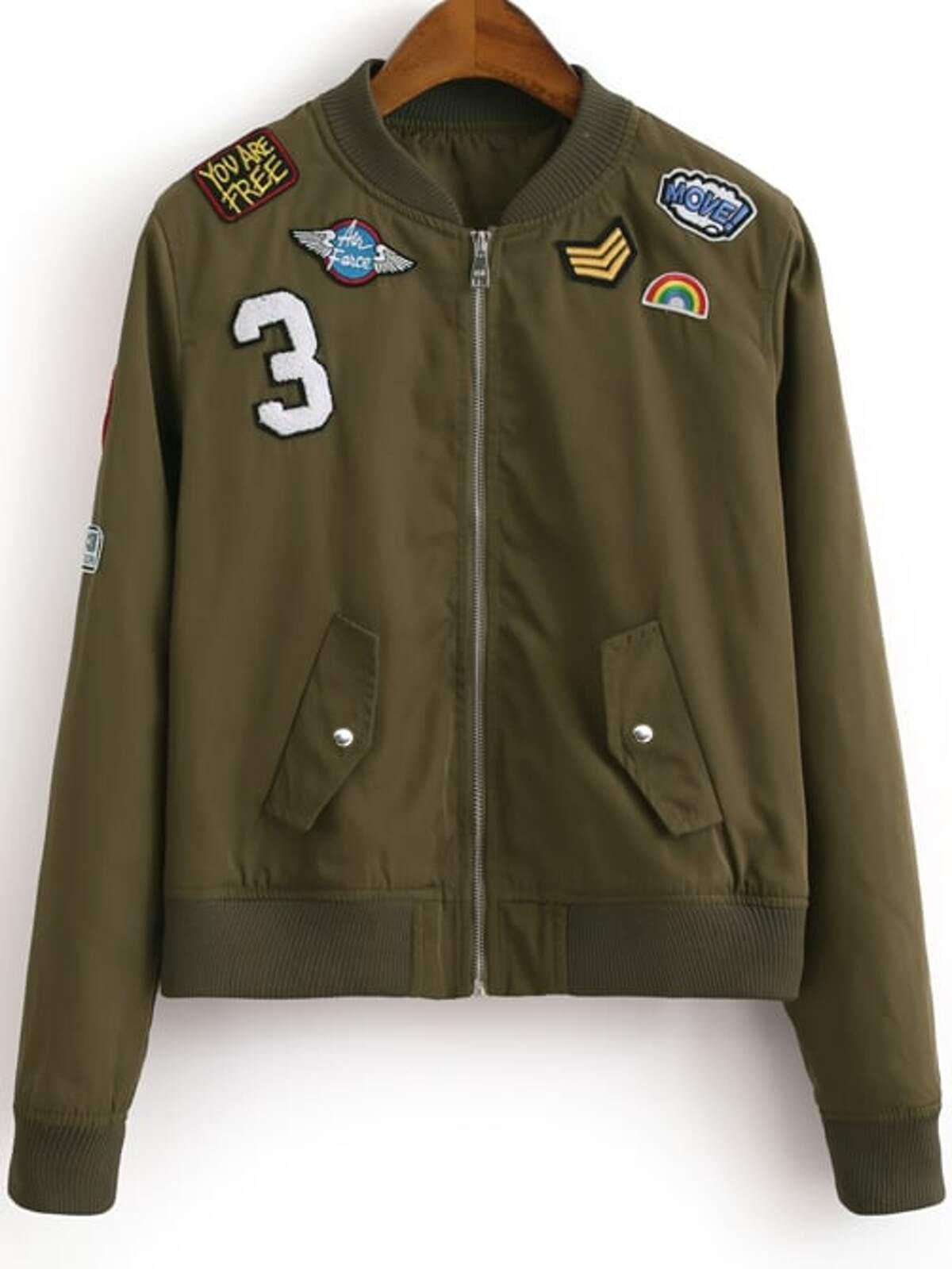 軍綠色 前面有拉鏈 徽章 刺鏽 外套