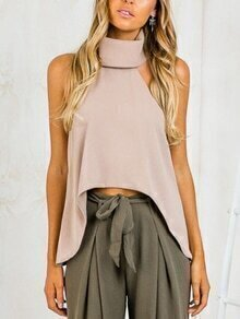 Fold-Over Halter Neck High-Low Top - Khaki