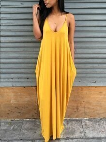 Scoop Neck Side Pocket Loose-Fit Maxi Dress - Yellow