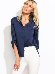 Double V-Neck Rolled Sleeve Blouse
