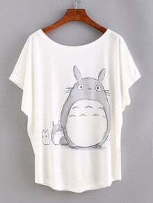 T-shirt motif cartoon - blanc