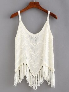 Fringe Hollow Out Crochet Cami Top
