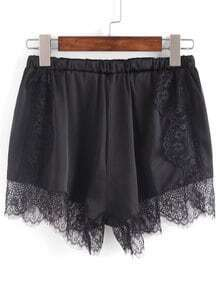 Lace Trimmed Elastic Waist Shorts