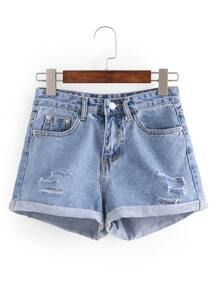 Shorts rotos ribete enrollado denim