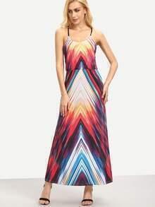 Chevron Print Racerback Cami Dress