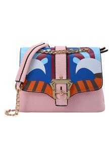 Peacock Print Flap Bag With Chain Strap - Pink