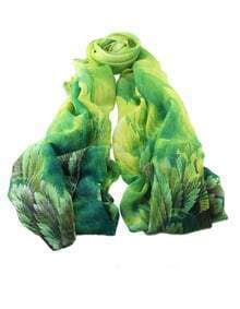 Green Flower Printed Voile Scarf