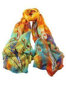 Orange Printed Knitted Voile Scarf