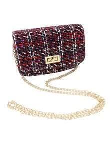 Trendy Woolen Fabric Red Shoulder Bag