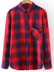 Red Long Sleeve Studded Pocket Plaids Blouse