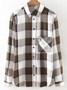 Blusa de tartán tachonado con manga larga