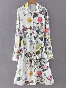 Multicolor Buttons Front Tie-Waist Bow Flowers Print Shirt Dress