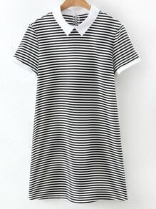 Black White Stripe Contrast Collar Short Sleeve Dress