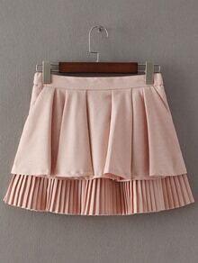 Pink Pockets Zipper Back Pleated Culottes