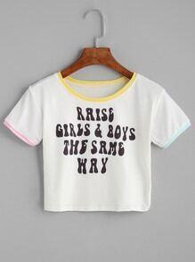 Contrast Trim Letter Print White Crop T-shirt