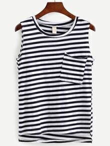 Pocket Front Navy Striped Tank Top