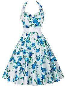 Halter Neck Flower Print Fit & Flare Dress - Blue