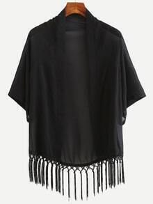 Black Fringe Chiffon Kimono