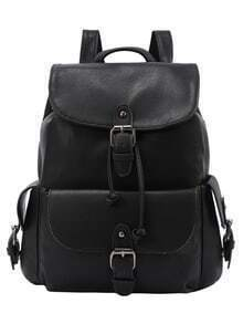 Buckled Flap Drawstring Backpack - Black