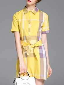 Yellow Lapel Plaid Tie-Waist Dress