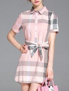 Pink Lapel Plaid Tie-Waist Dress