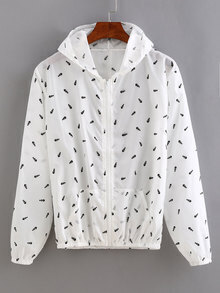 Fish Bone Print Zip Front Sunscreen Hoodie