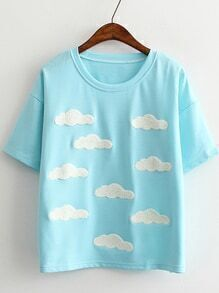 Blue Short Sleeve Clouds Casual T-shirt