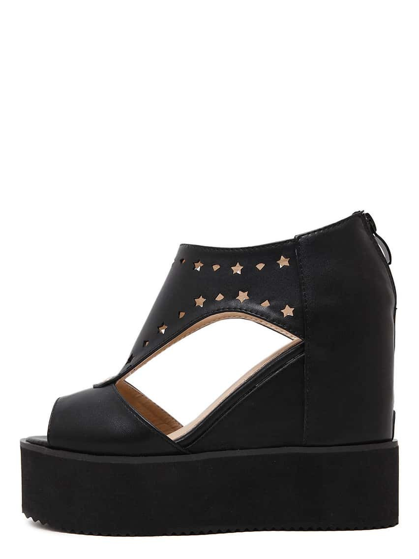 Black Platform Peep Toe Wedge Pumps