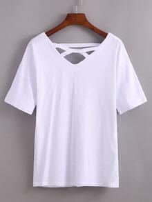 Double V-Neck Cutout Crisscross T-shirt